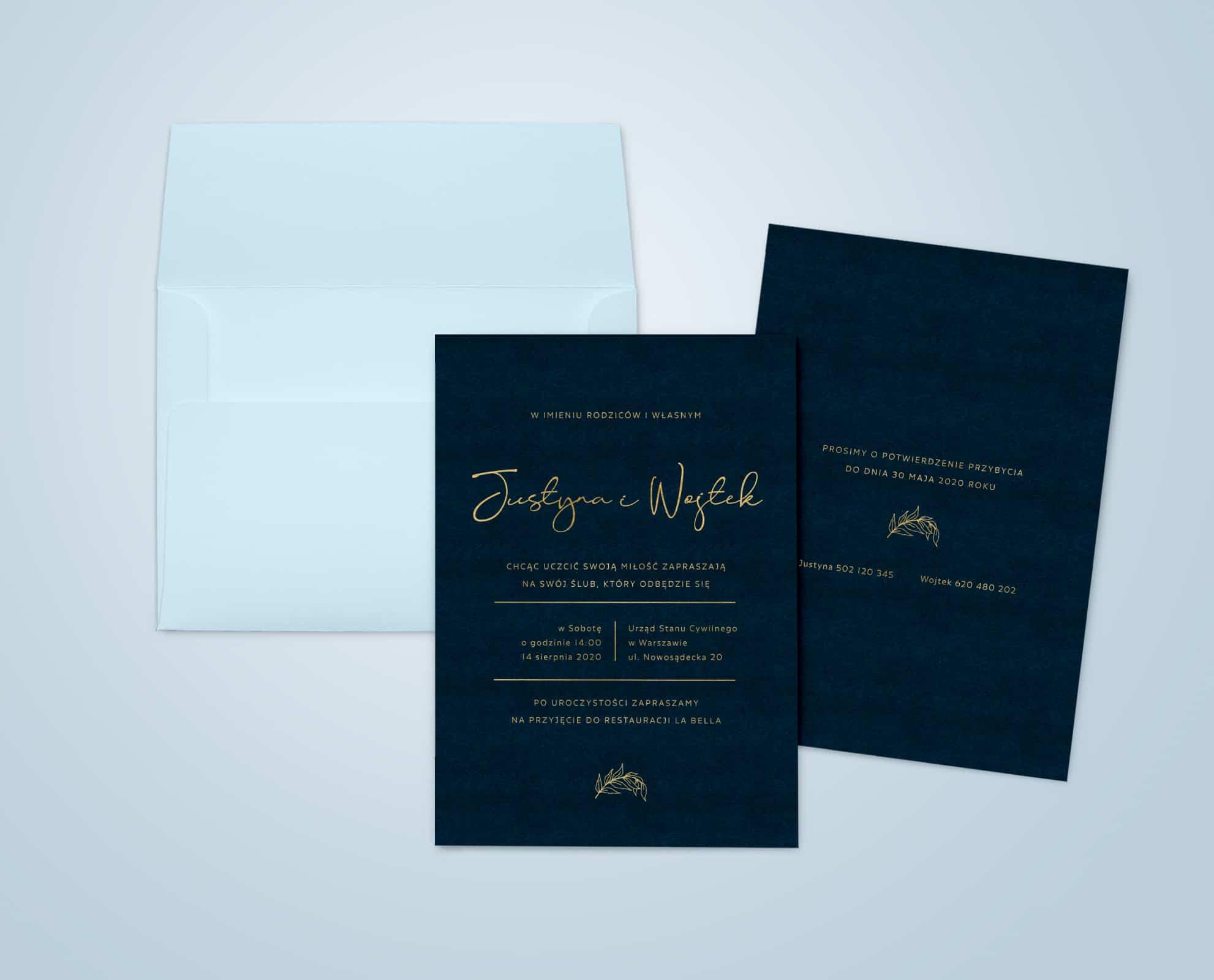 Zaproszenia ślubne granatowe ze złotym drukiem i niebieską kopertą