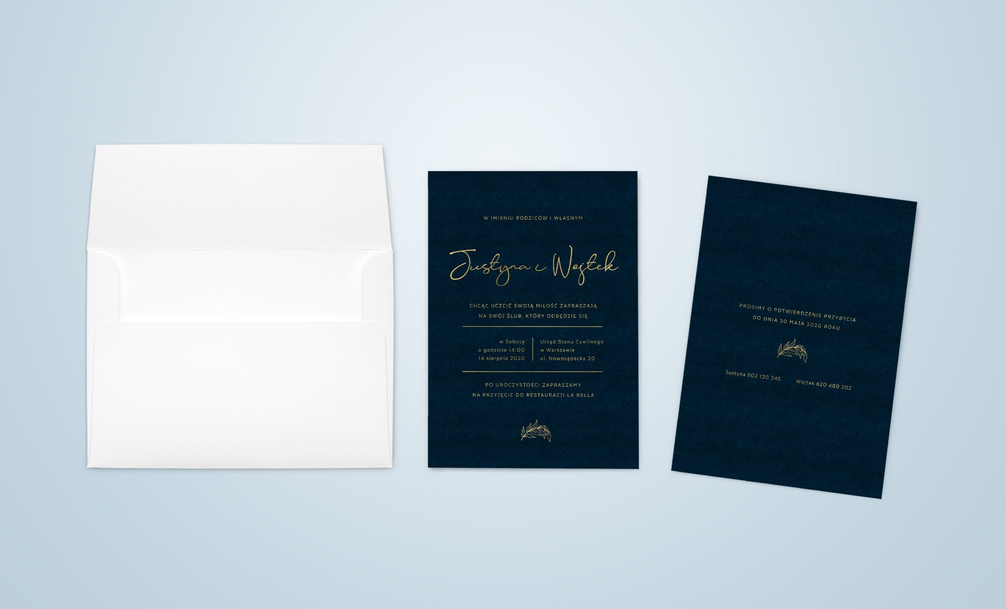 zaproszenia ślubne granatowo złote, proste i eleganckie