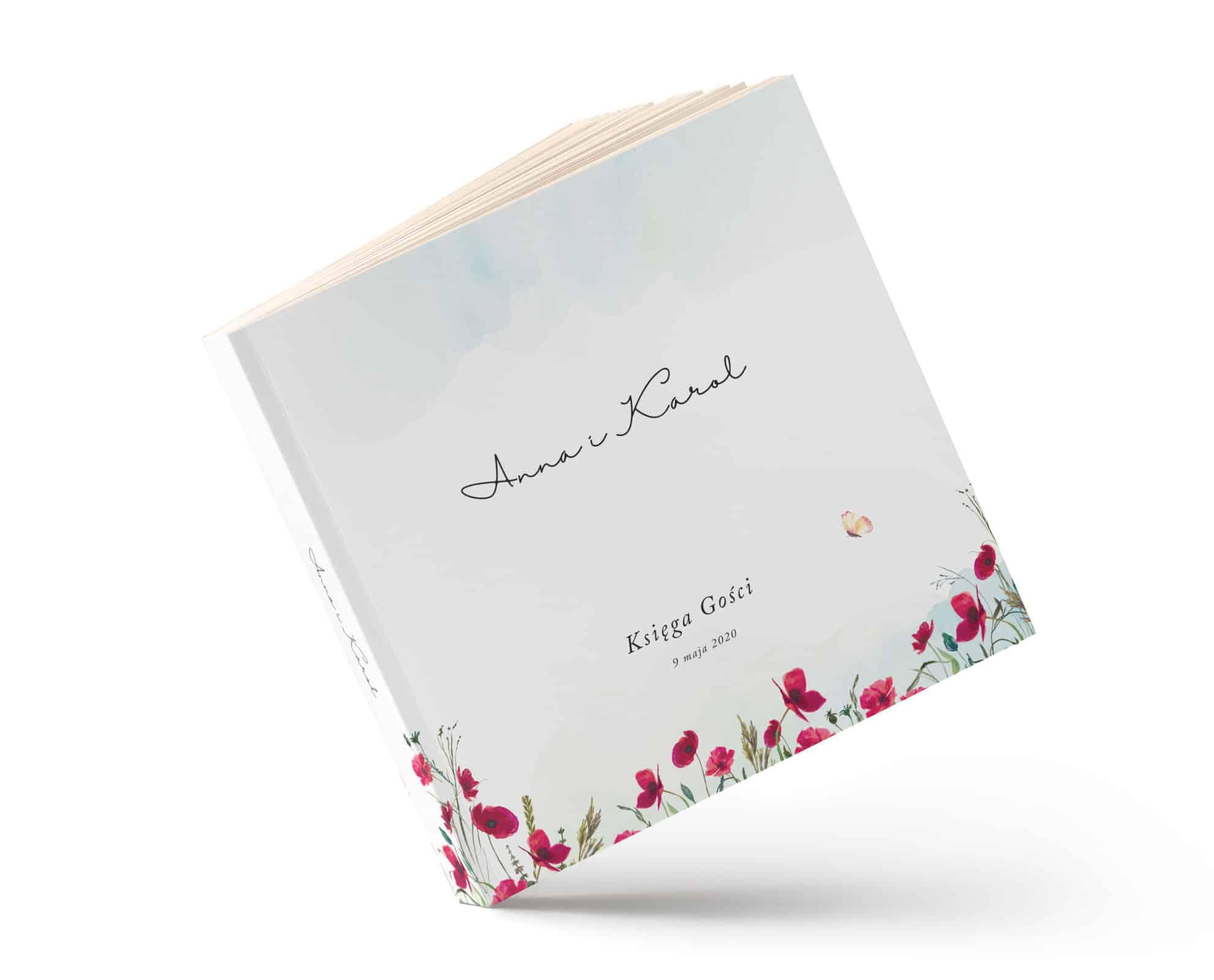 Księga gości w formie albumu z motywem czerwonych maków