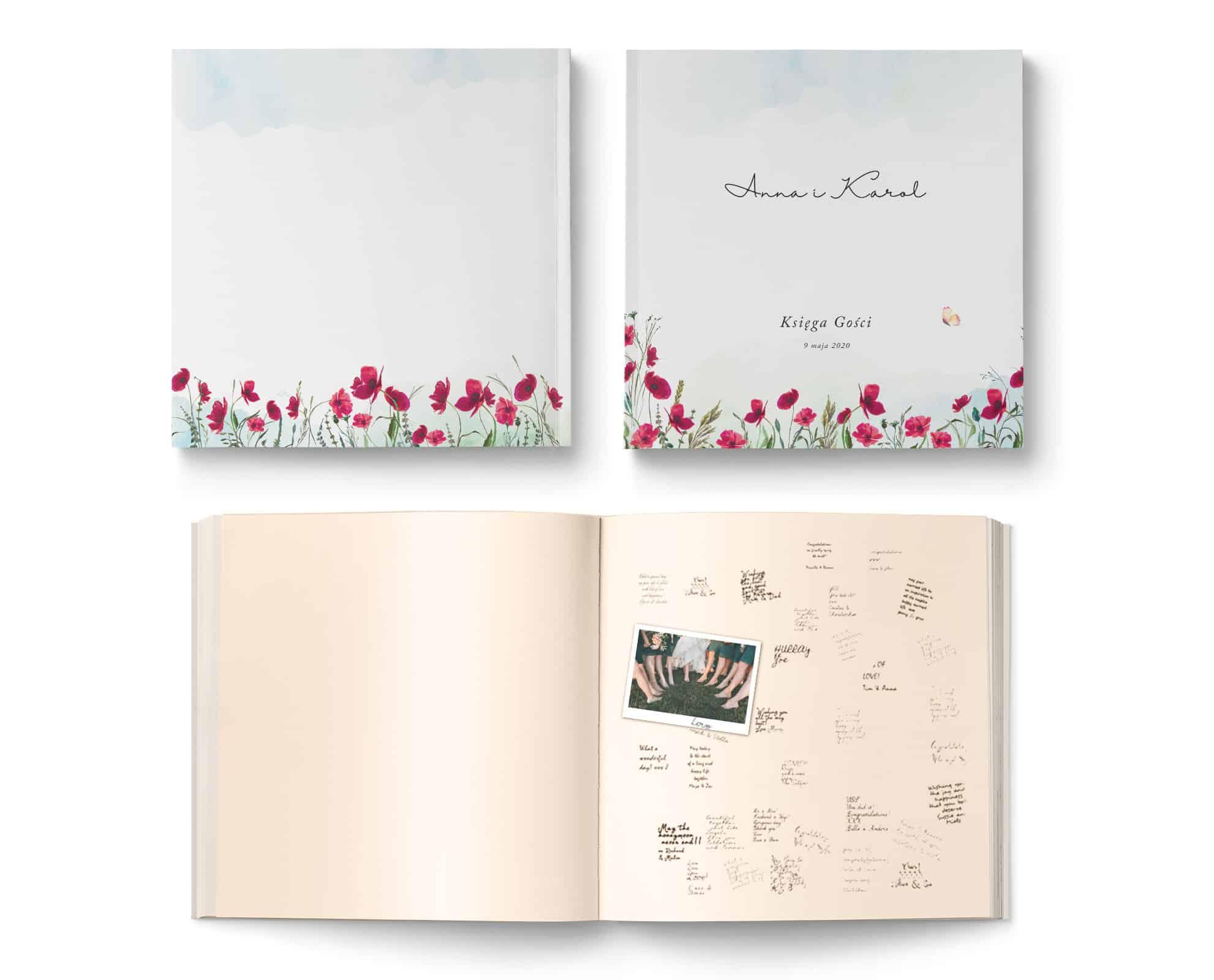 Księga gości na wesele do wpisów gości, kwadratowa z kwiatami maków