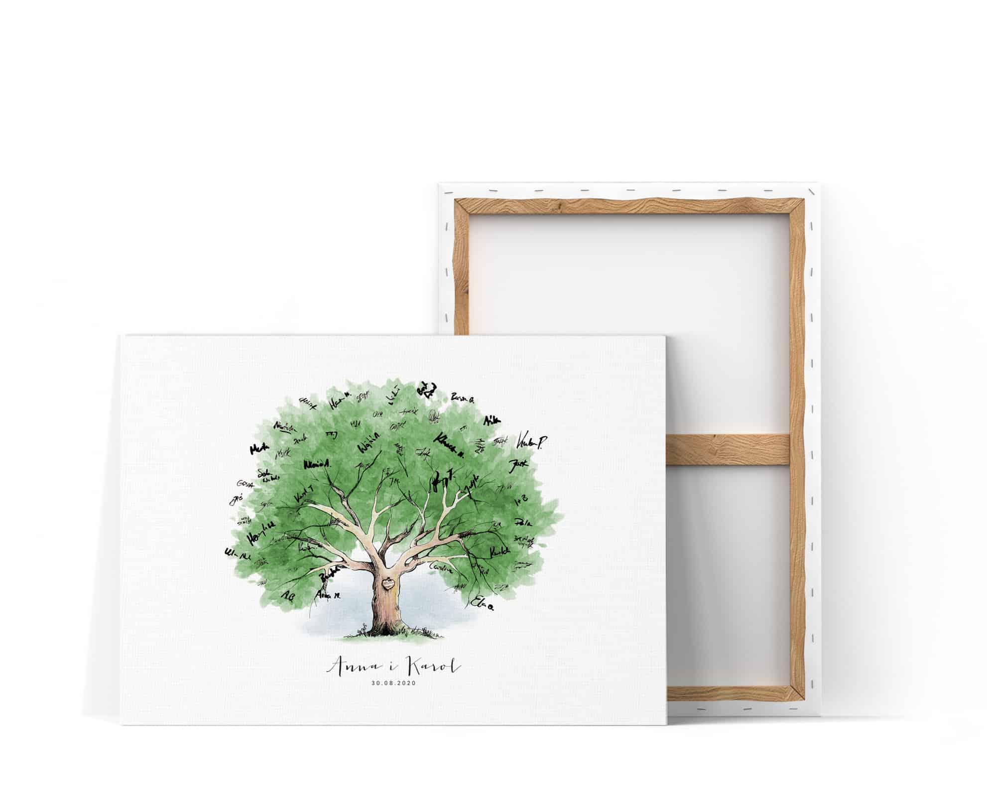 Drzewko na podpisy gości weselnych, z zielonymi liściami