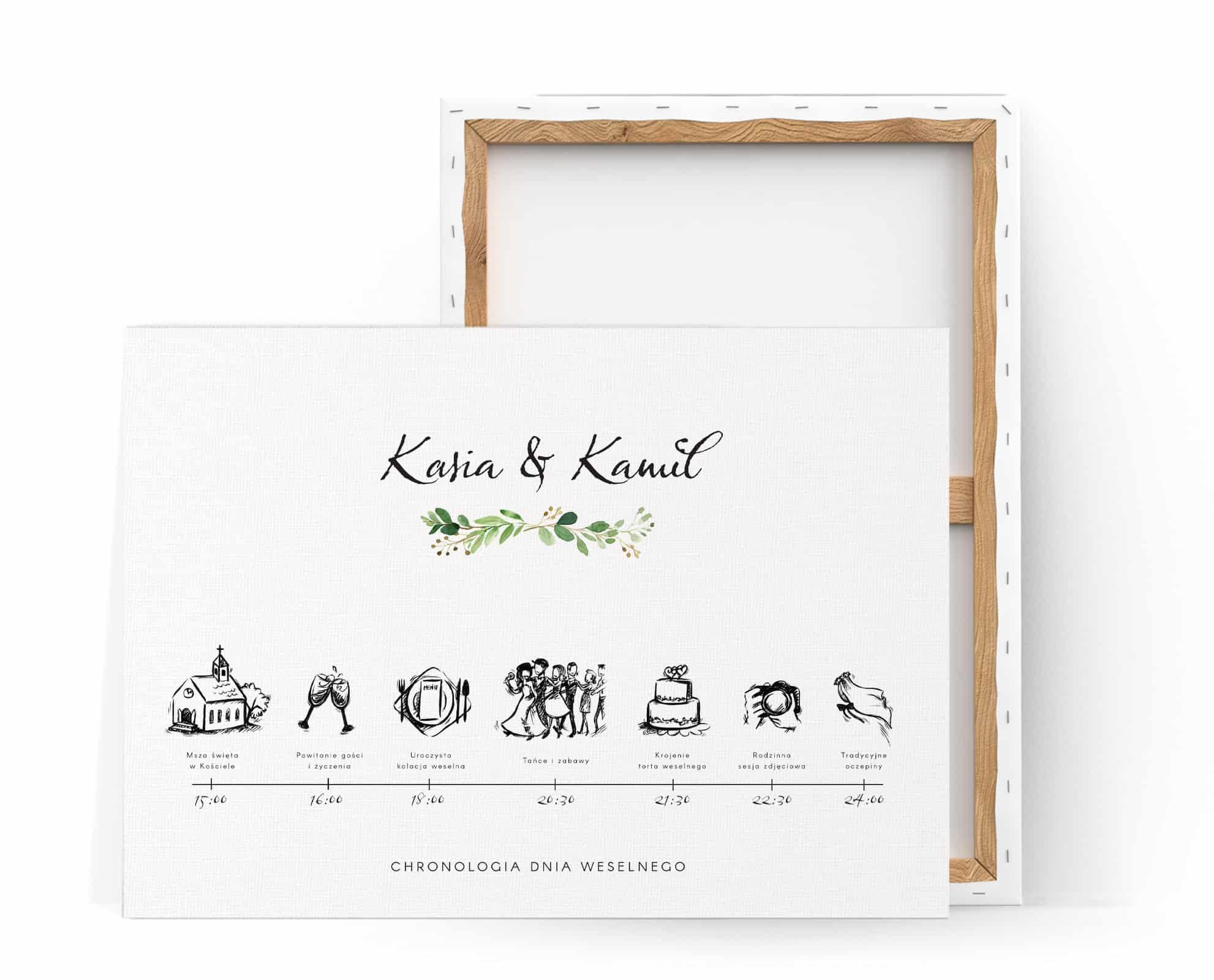 Duża tablica z planem uroczystości z eleganckimi prostymi rysunkami