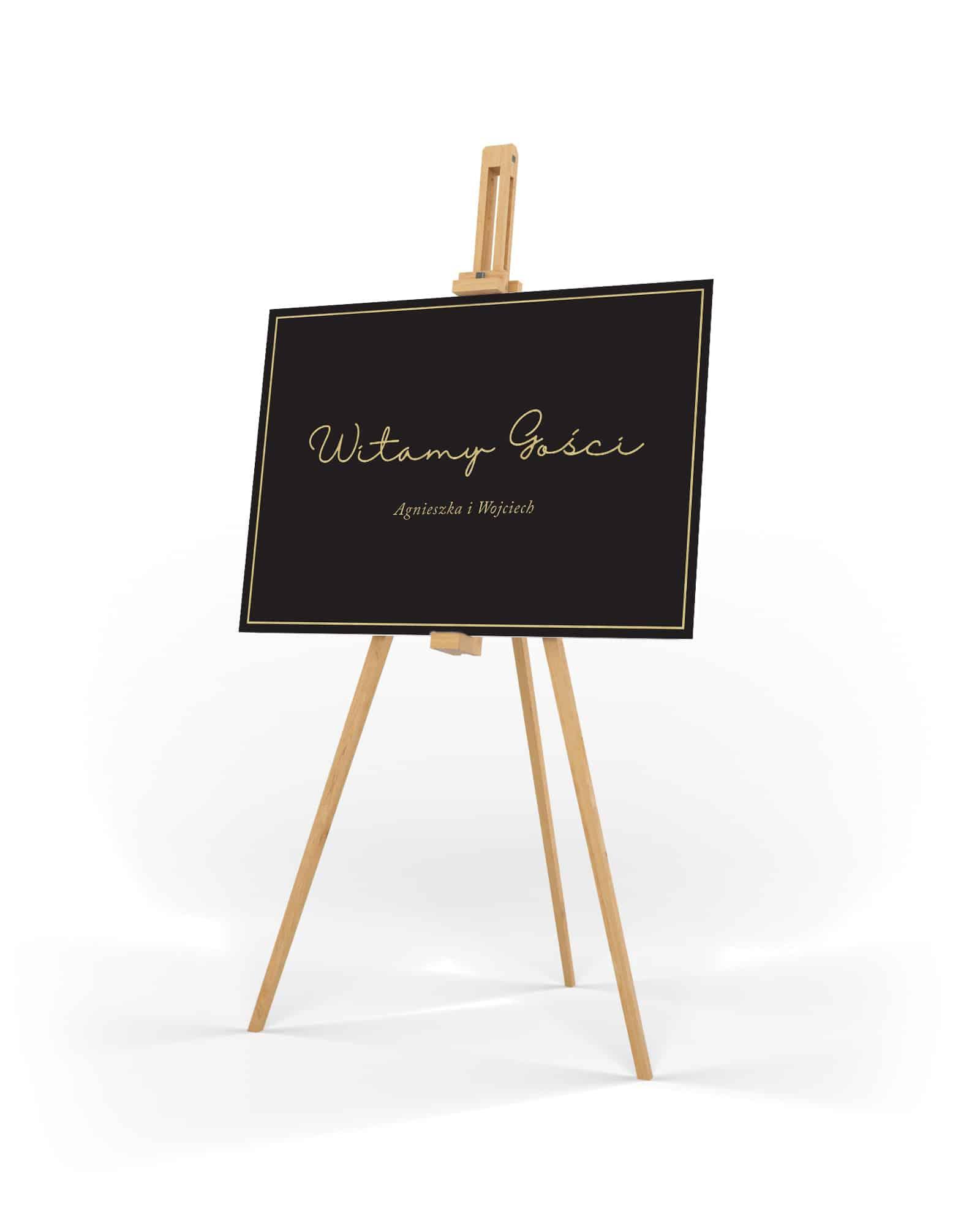 Elegancka czarno złota tablica powitalna na wesele