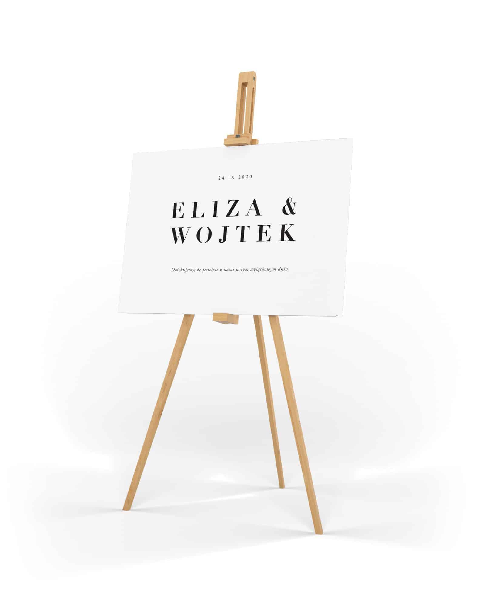 Elegancka i minimalistyczna tablica powitalna z dużymi imionami