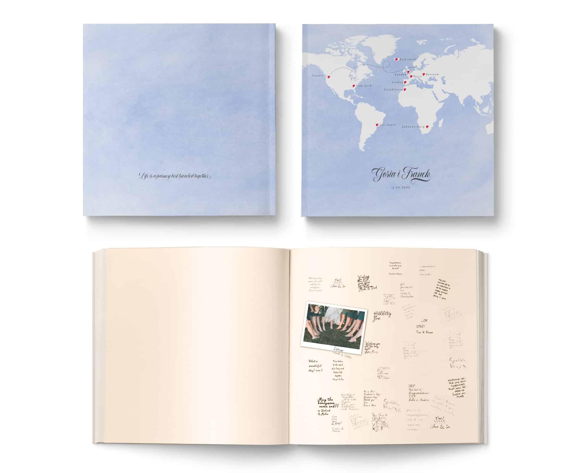Elegancka księga gości z motywem podróży, karty ecru, niebieska okładka z białą mapą
