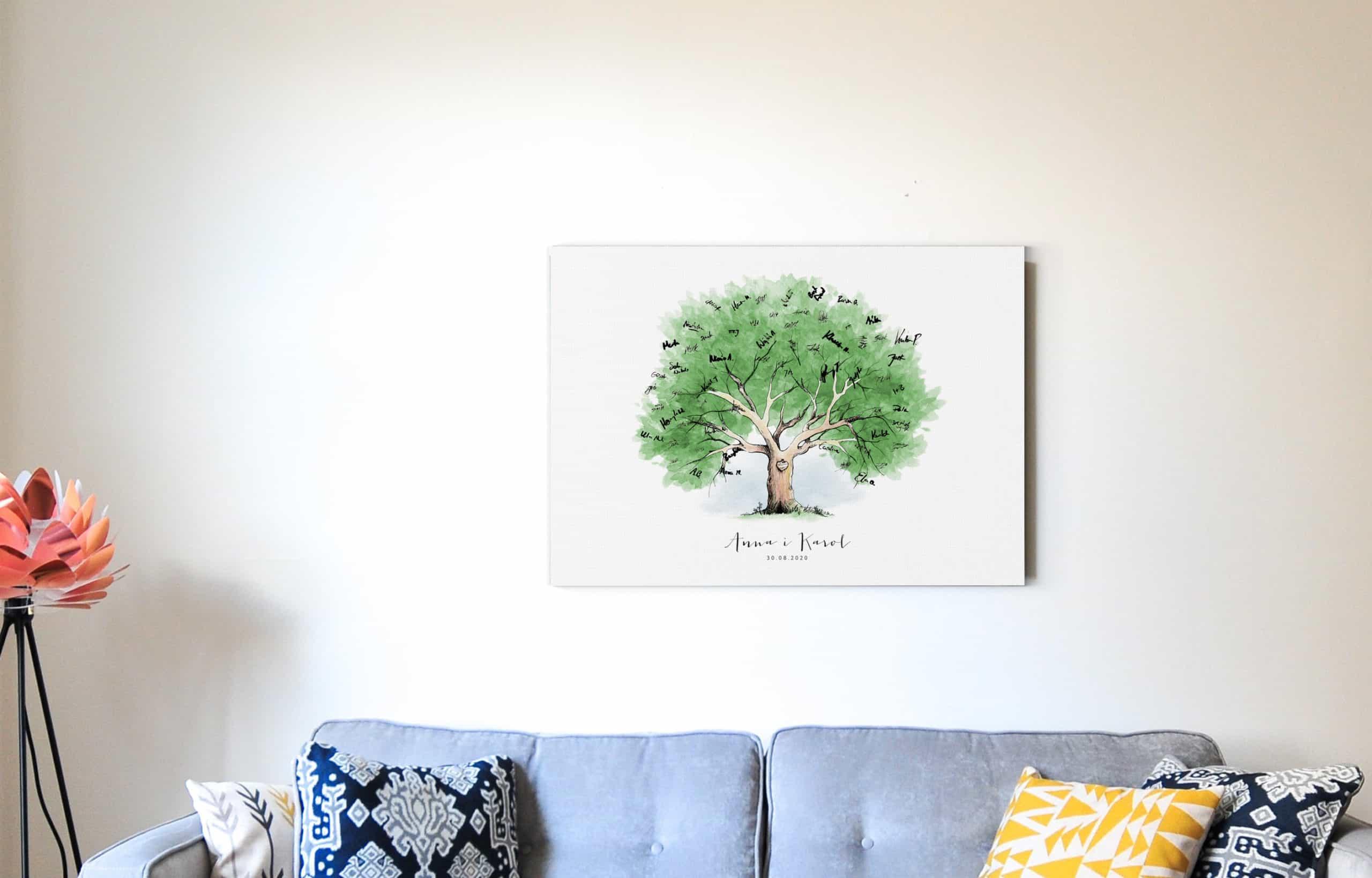 Księga gości z rysunkiem drzewa do pozostawiania podpisów