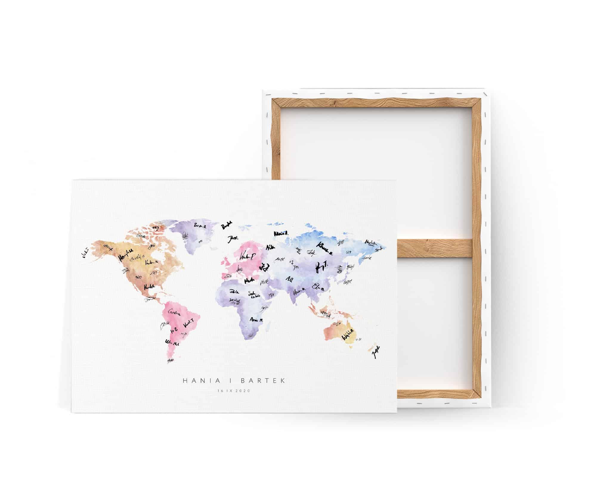 księga gości na płótnie oprawiona w ramę z motywem kolorowej mapy świata
