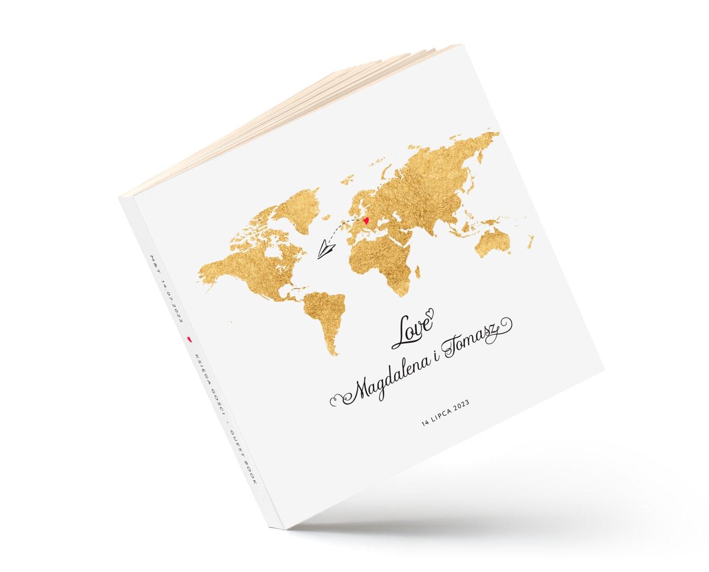 Księga gości na wesele z motywem podróży, złota mapa świata i samoloty