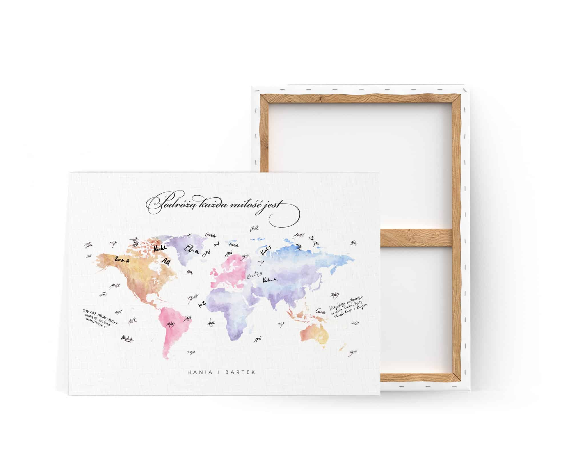 Księga gości w podróżniczym stylu, kolorowa mapa na płótnie