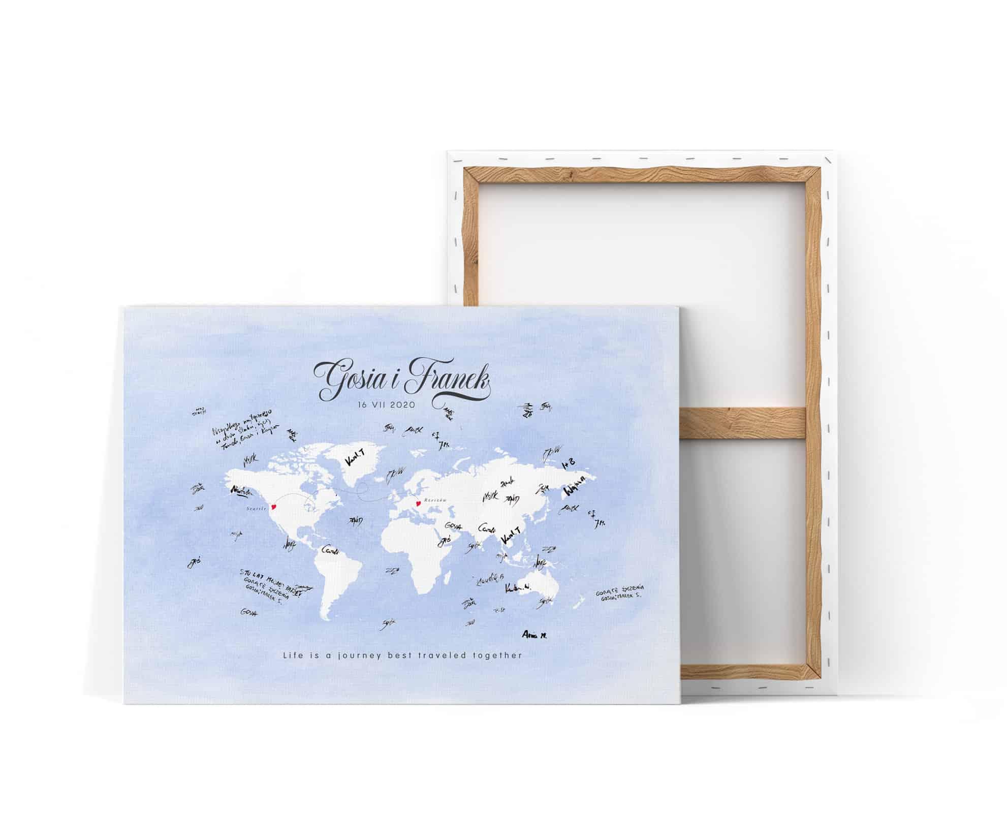 Księga gości z mapą świata na niebieskim tle do wpisów gości