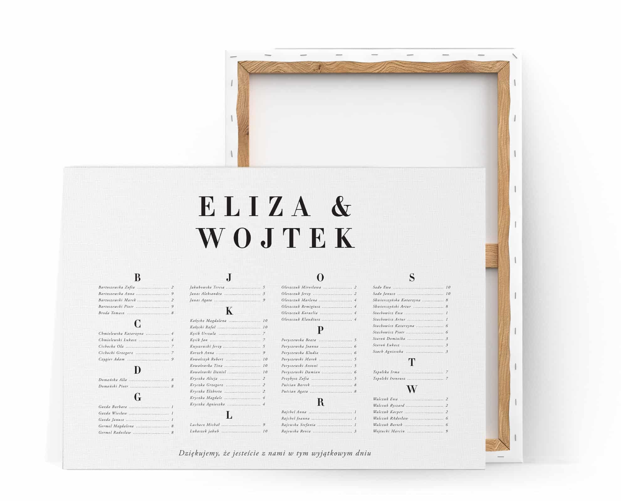 minimalistyczny plan stołów na wesele z dużą ładną czcionką