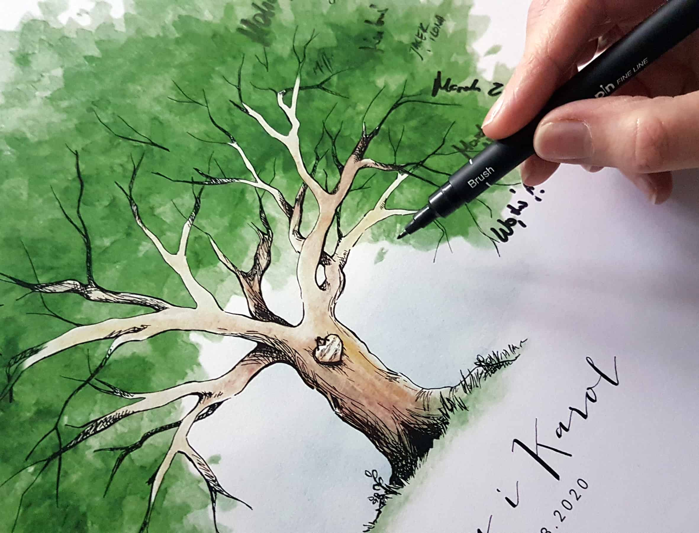 Drzewko do pozostawiania podpisów i życzeń przez gości weselnych