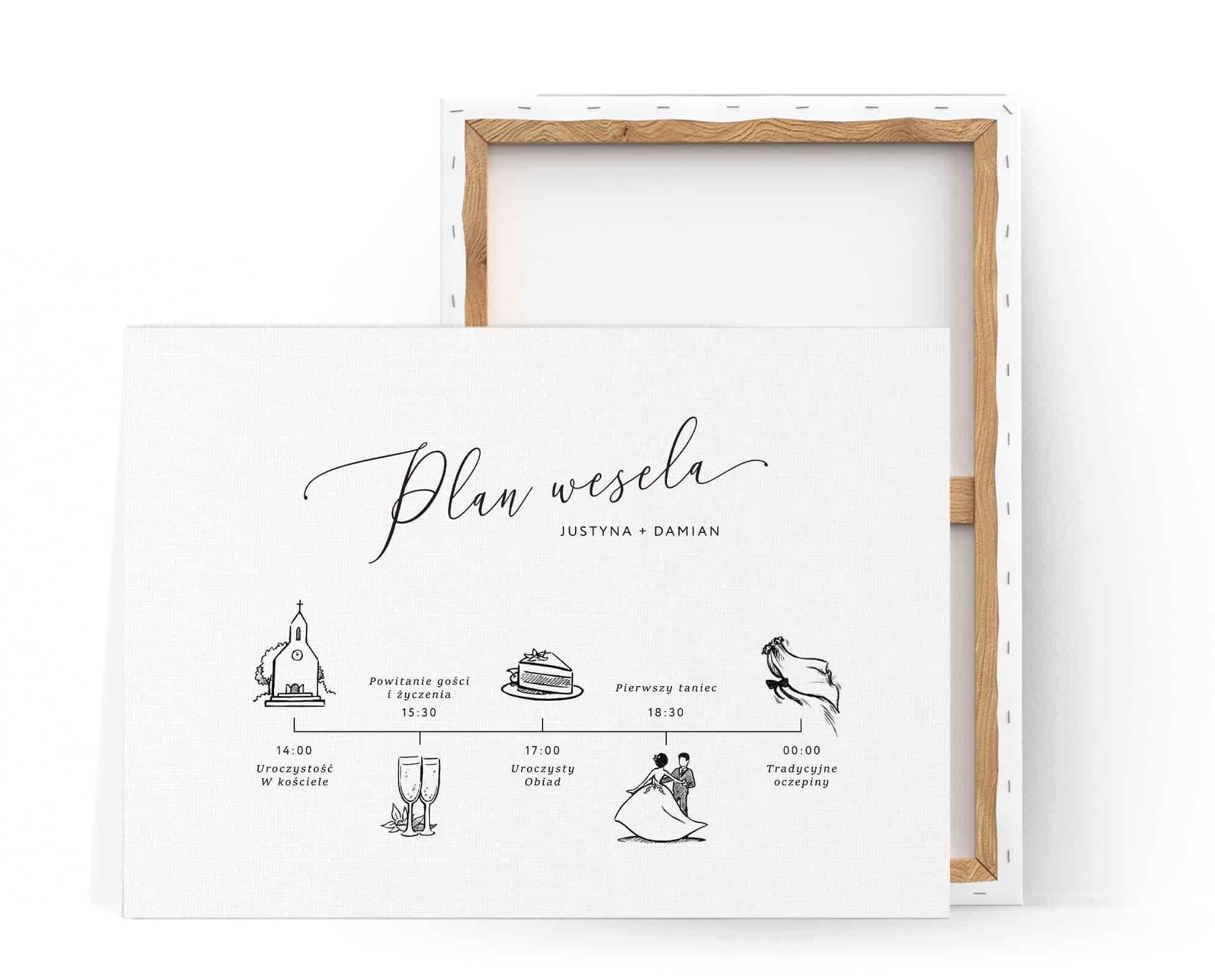 Plan ceremonii na płónie do postawienia na sali weselnej