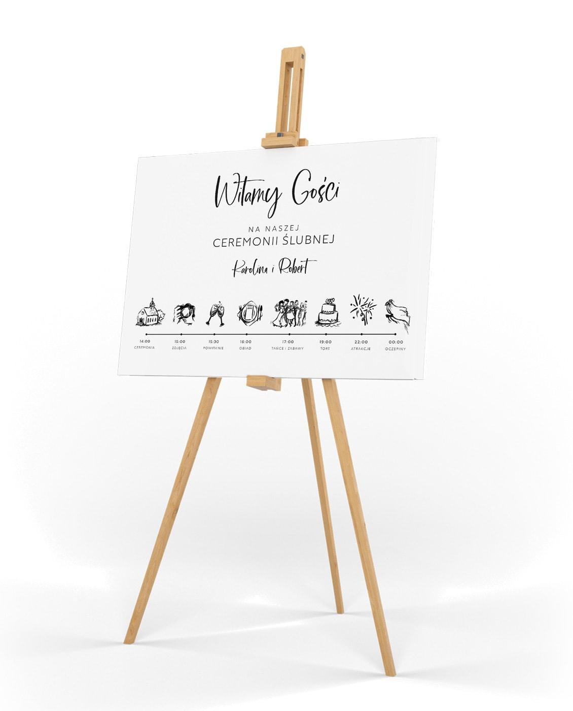 Tablica informacyjna z przebiegiem uroczystości weselnej Luxury