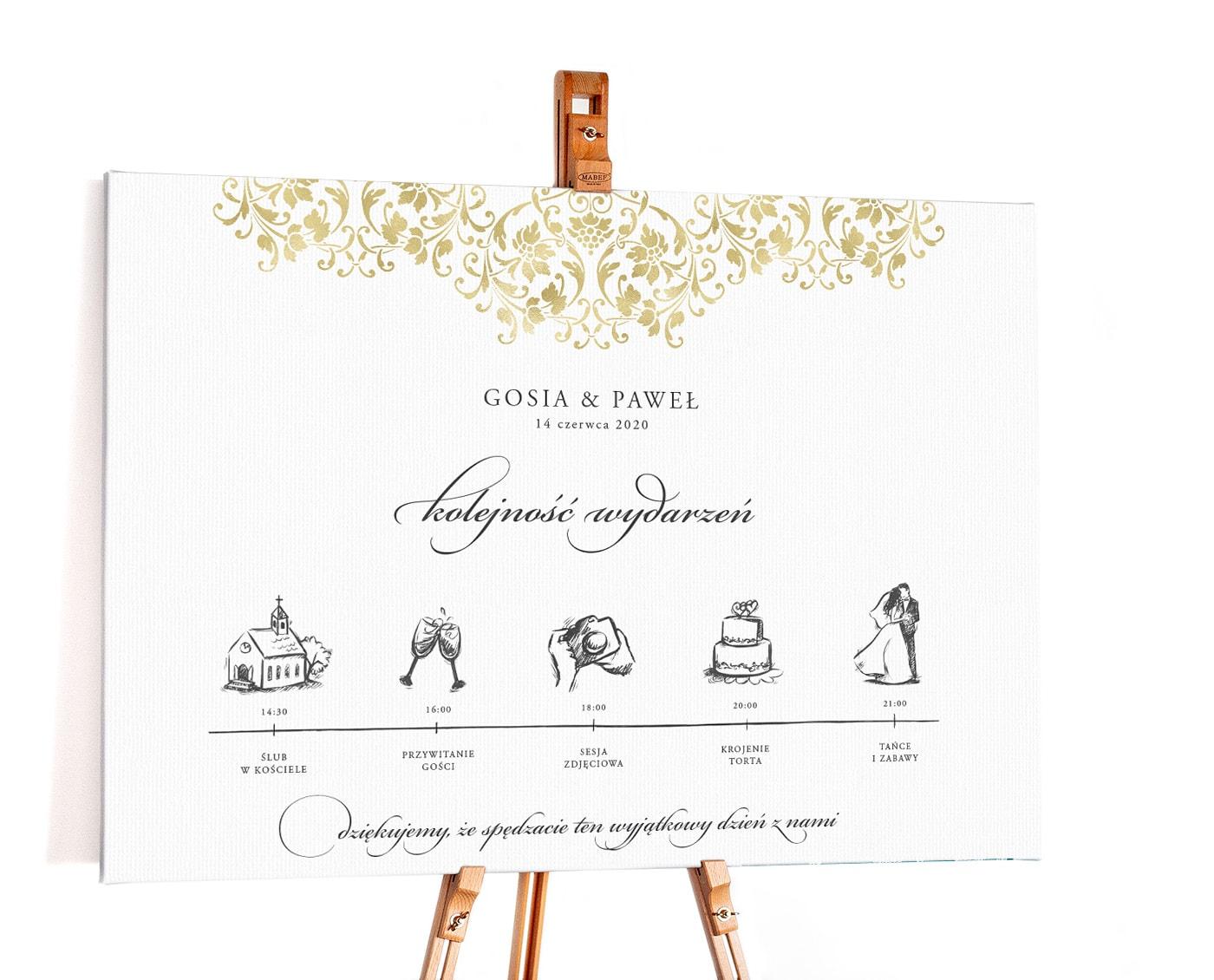 Plan ceremoni weselnej z eleganckimi ornamentami i pięknymi rysunkami