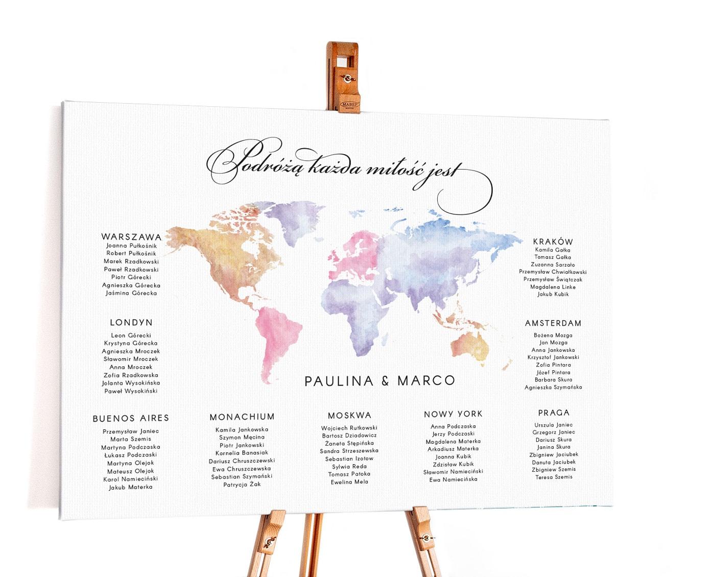 Plan stołów na wesele z kolorową mapą świata malowaną akwarelami
