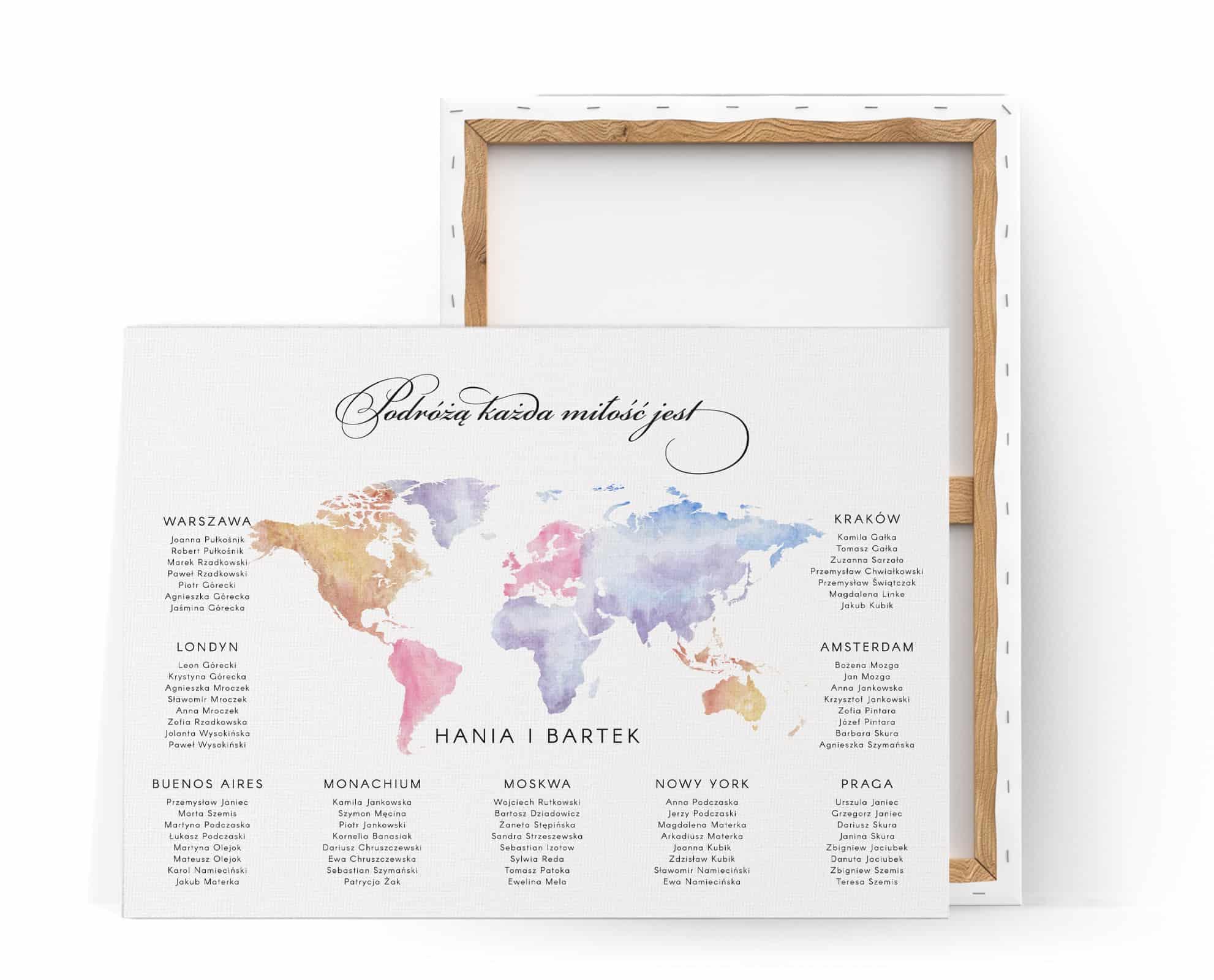 Plan usadzenia gości weselnych z cytatem Kofty i kolorową mapą