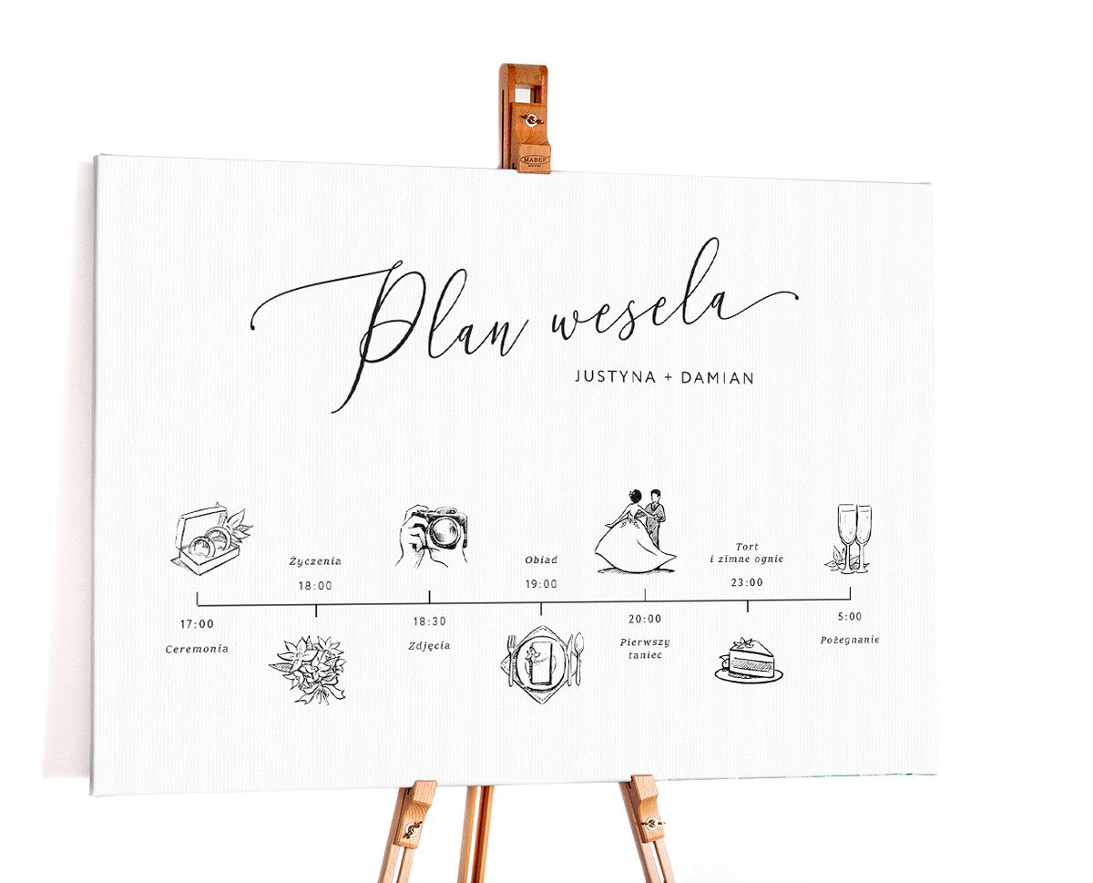 Minimalistyczny plan wesele z rysunkami i opisem wydarzeń w czasie dnia
