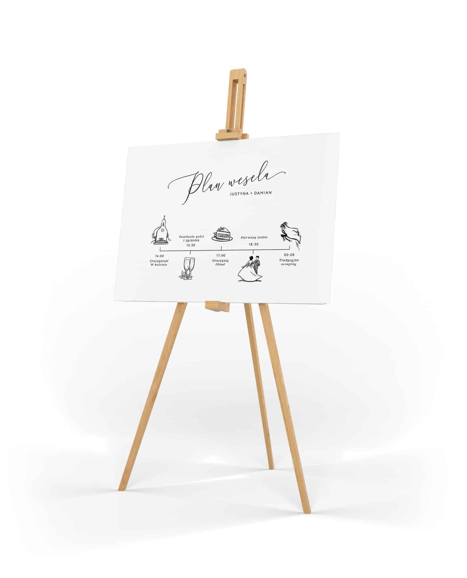 Plan przebiegu wesela na tablicy do postawienia na sztaludze z eleganckimi ilistrucjami