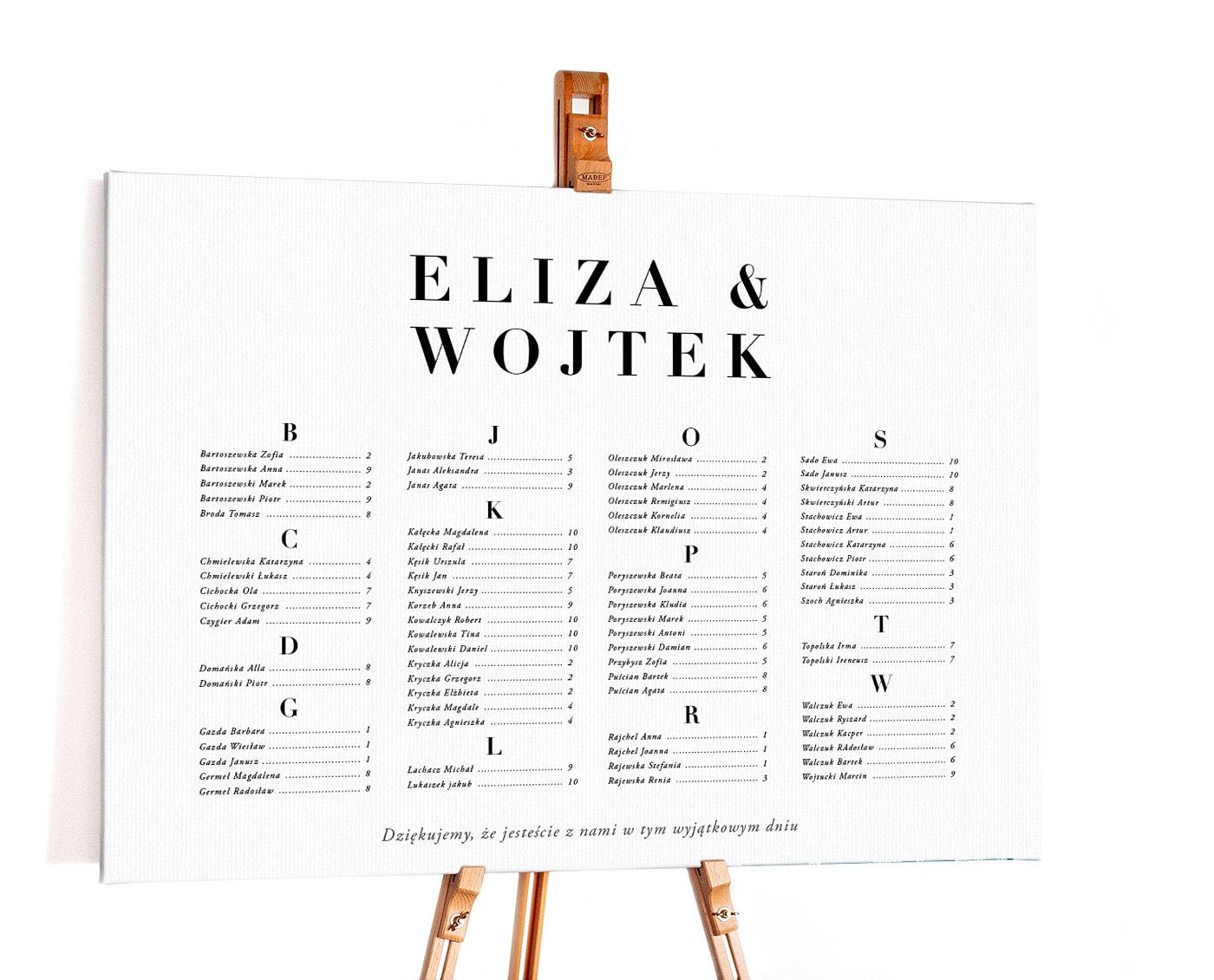 Prosty i elegancki plan stołów, czytelny z alfabetycznym układem
