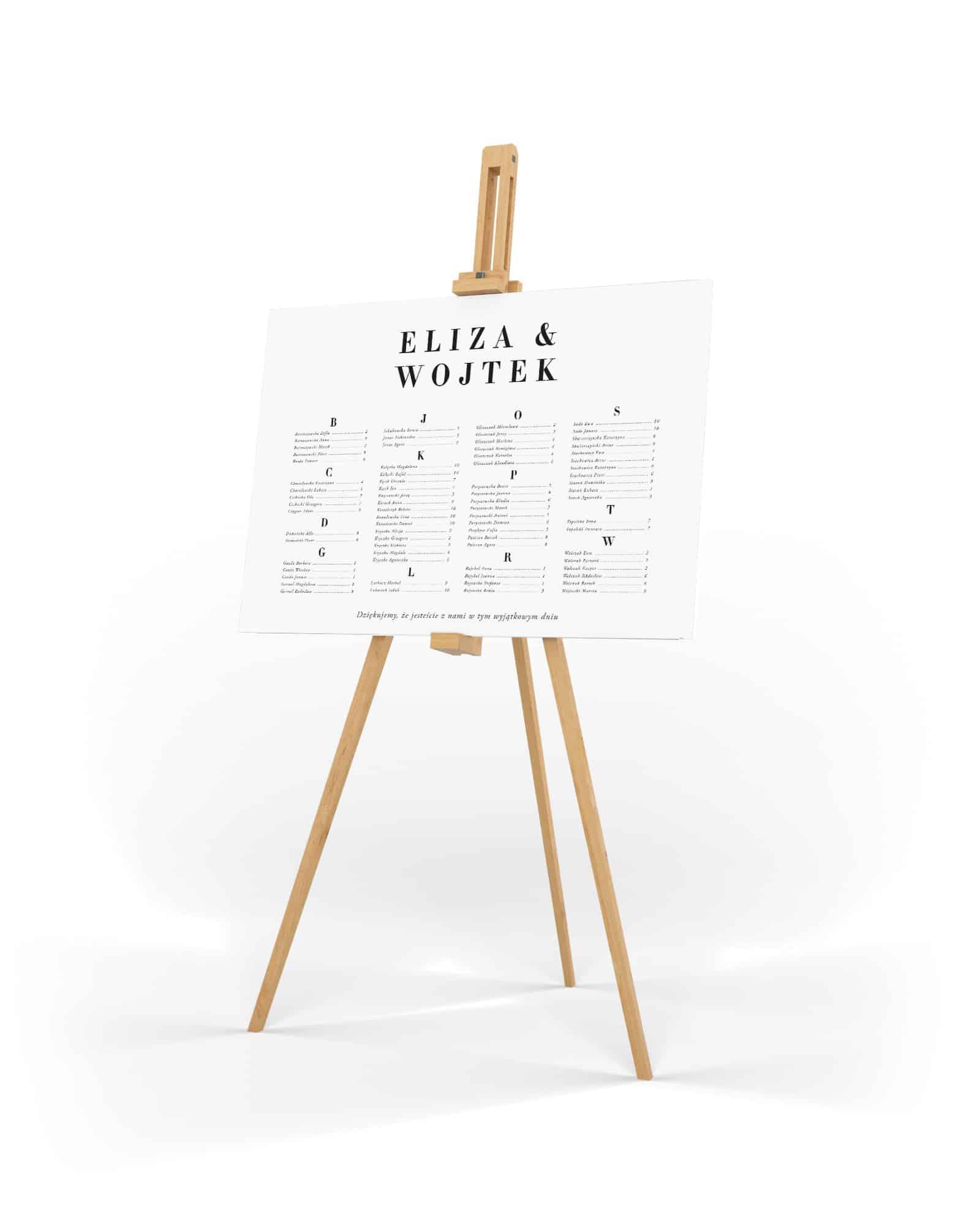 Klasyczny plan stołów z dużą prostą czcionką, alfabetyczny układ