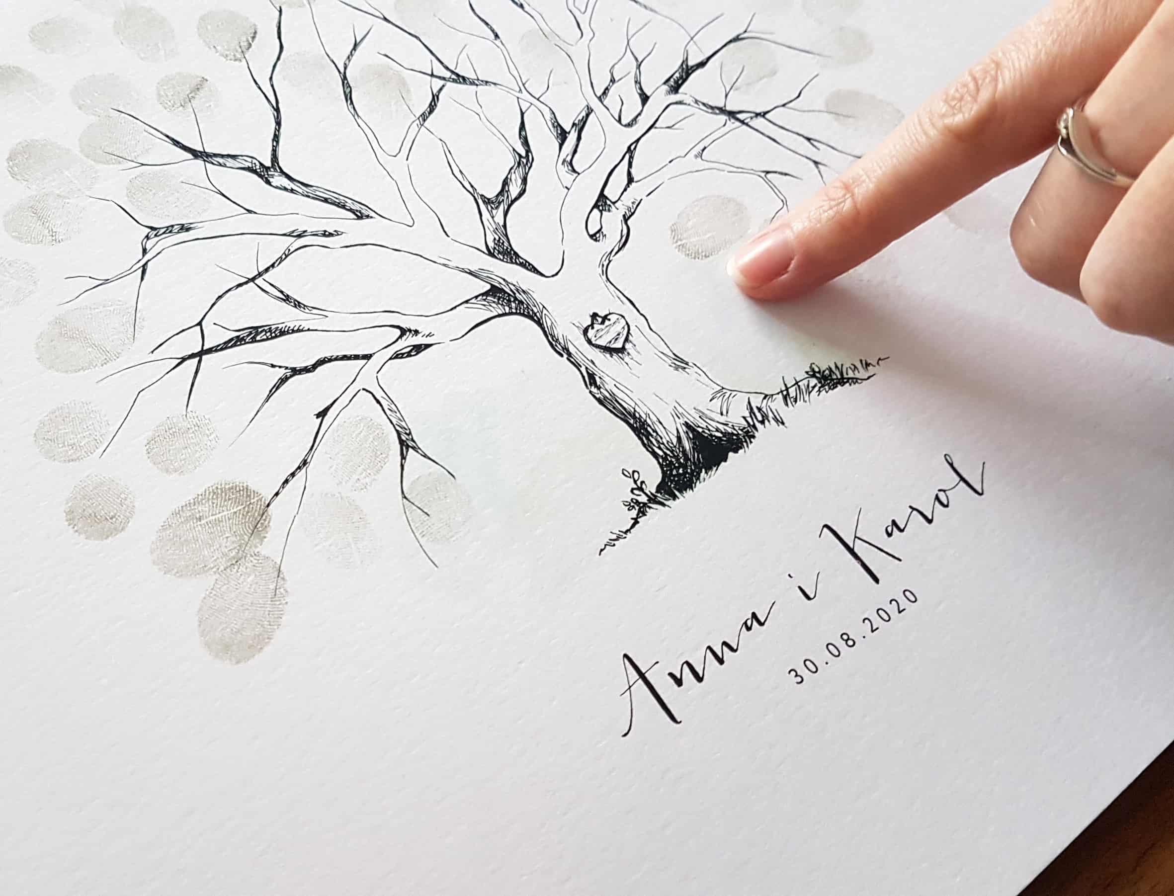 Kreatywna księga gości na odciski palców i autografy gości weselnych