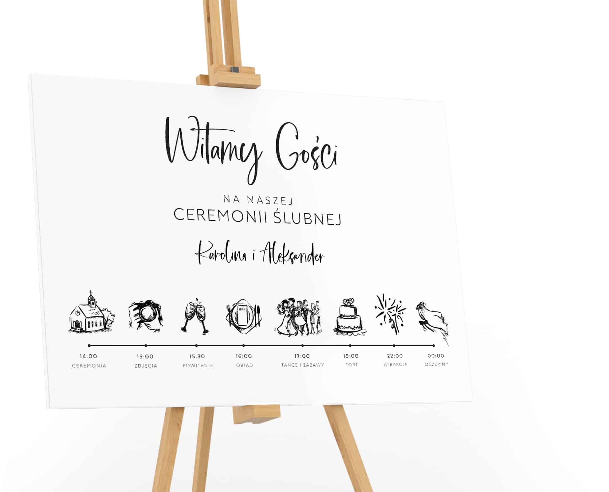 Tablica powitalna na wesele z planem ceremonii z rysunkami Luxury