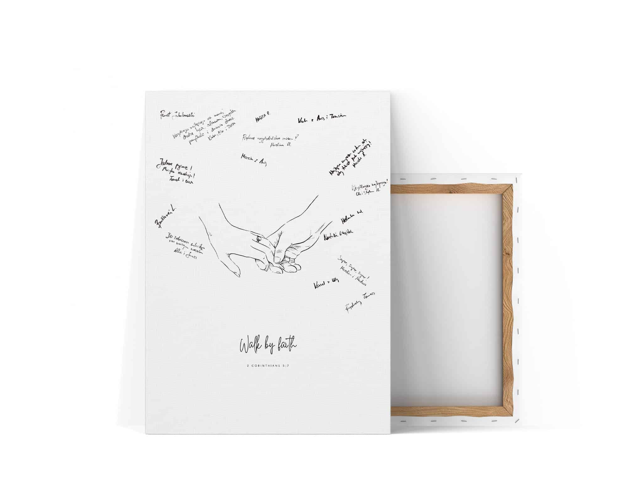 Pomysła na księgę gości z rysunkiem trzymających się dłoni i napisem walk by faith