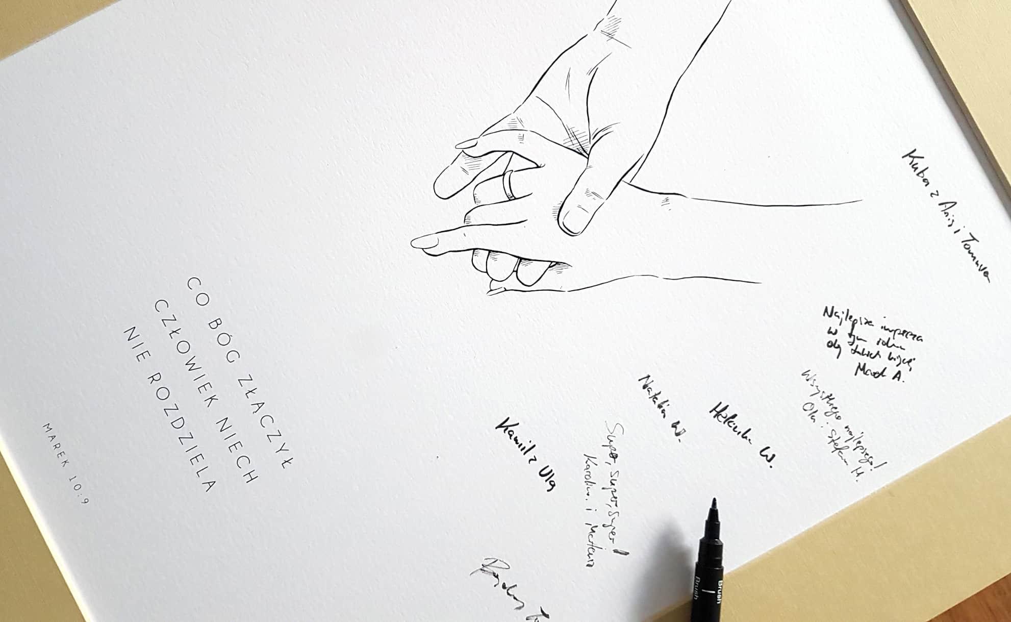 Księga gości w passepartout, rysunek trzymających się dłoni