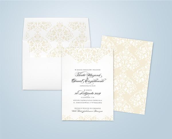 Klasyczne zaproszenia ślubne z ornamentami Ecru