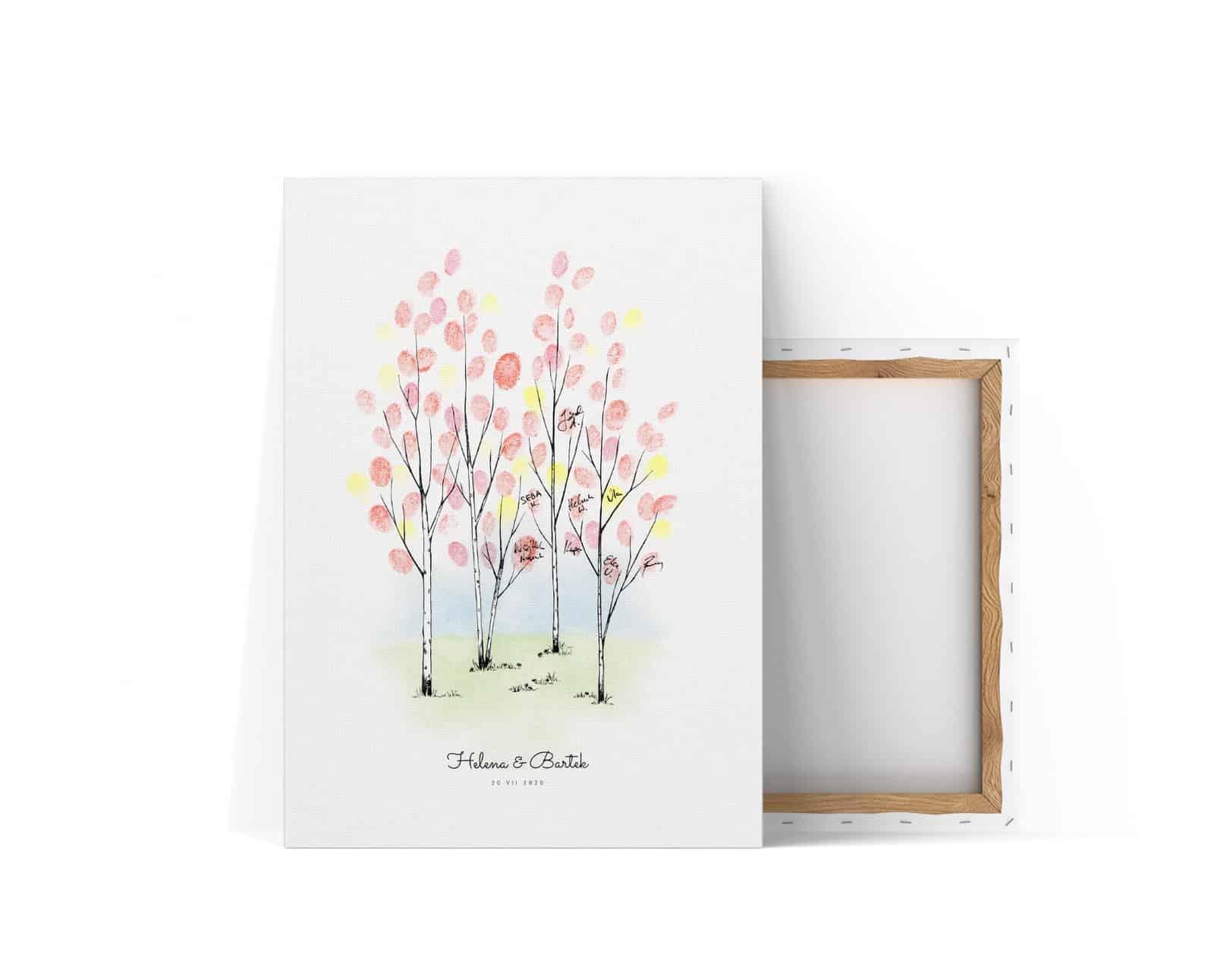 Kreatywna księga gości z brzozami na pozostawianie odcisków palców