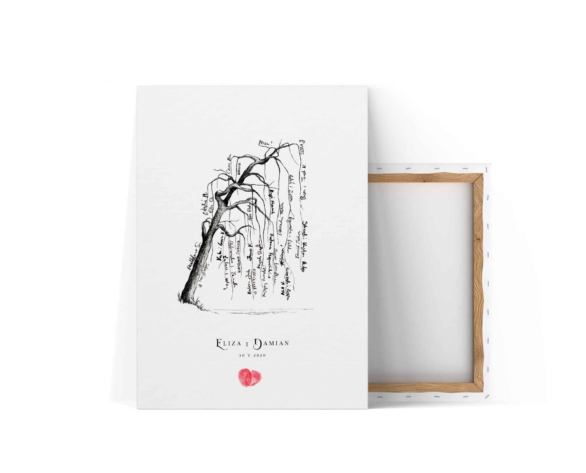 Księga gości z drzewkiem na podpisy. Serduszka z odcisków palców.