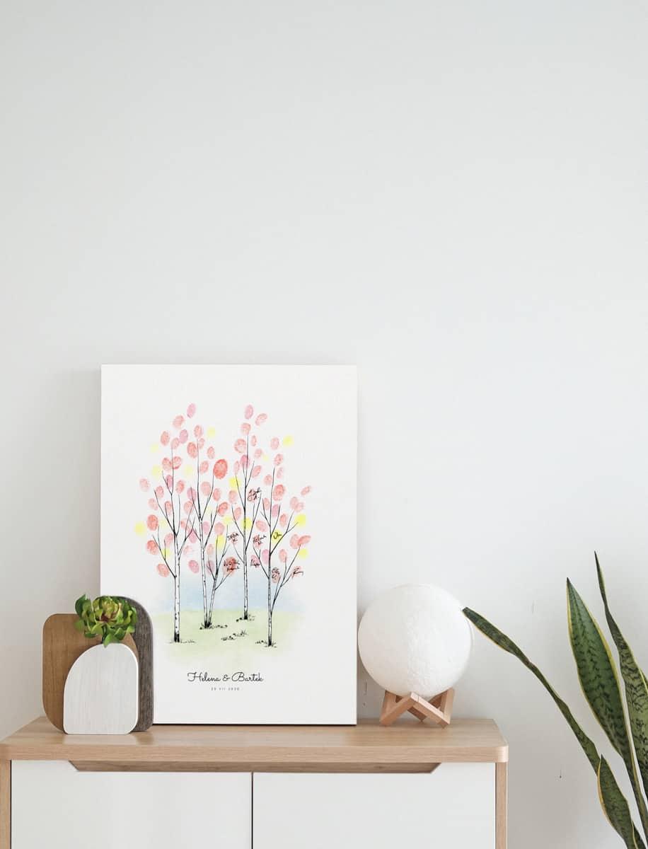 Księga gości w formie obrazu z drzewkiem do pozostawiania odcisków palców