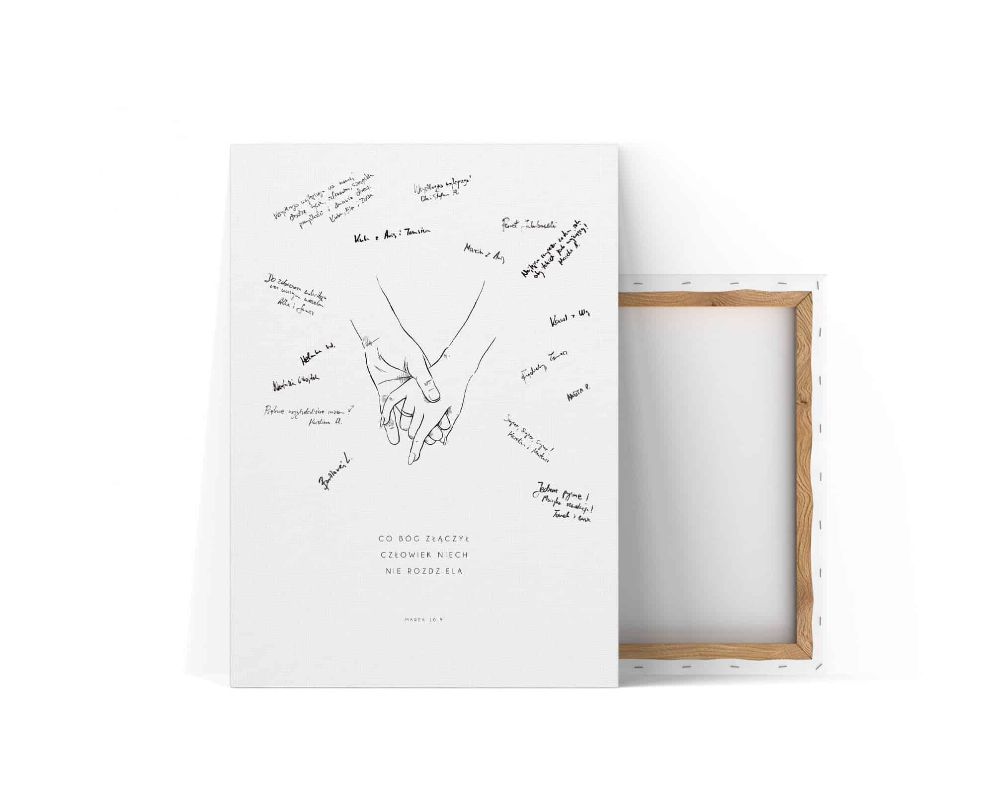 Księga gości z rysunkiem pary trzymającej się za ręce