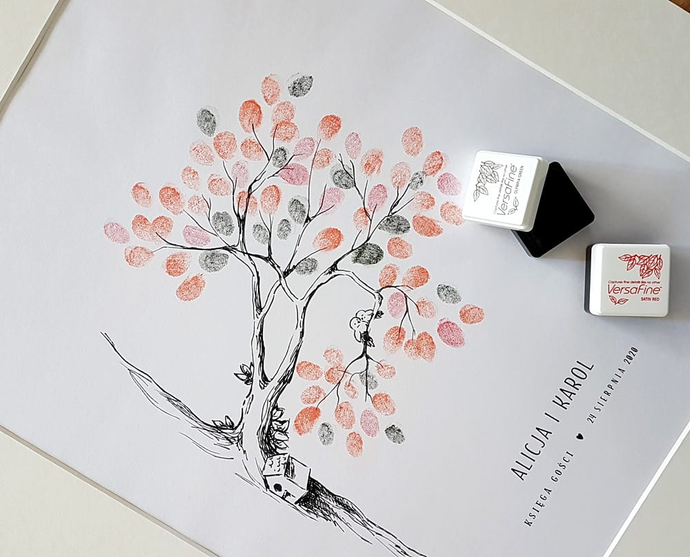 Jesienna księga gości z gałązką i ptaszkami, listki z odcisków palców