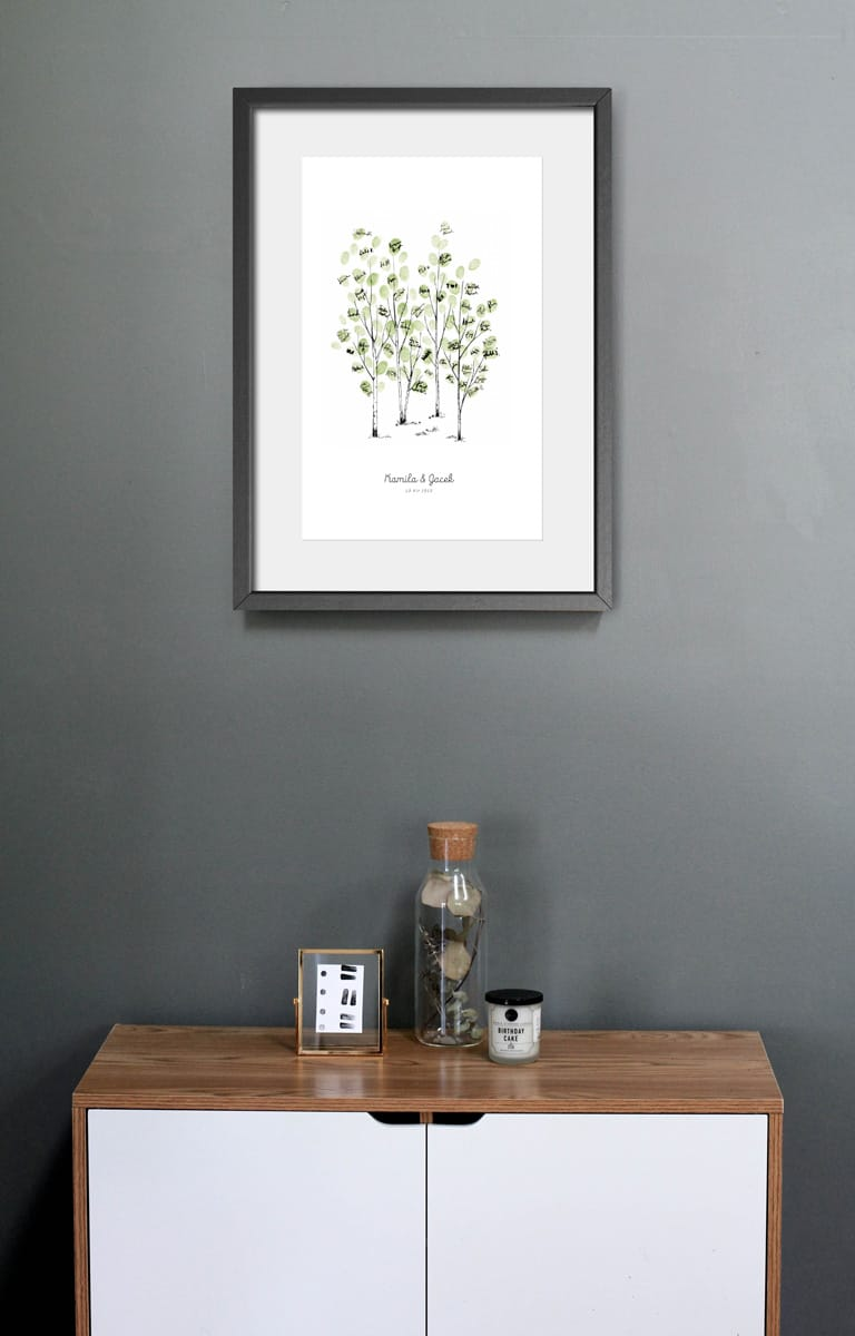 Księga gości do powieszenia na ścianie, drzewo na odciski palców i podpisi