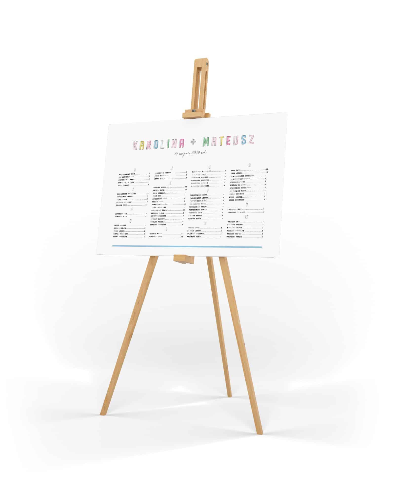 Minimalistyczny plan usadzenia gości z kolorowymi dużymi literami