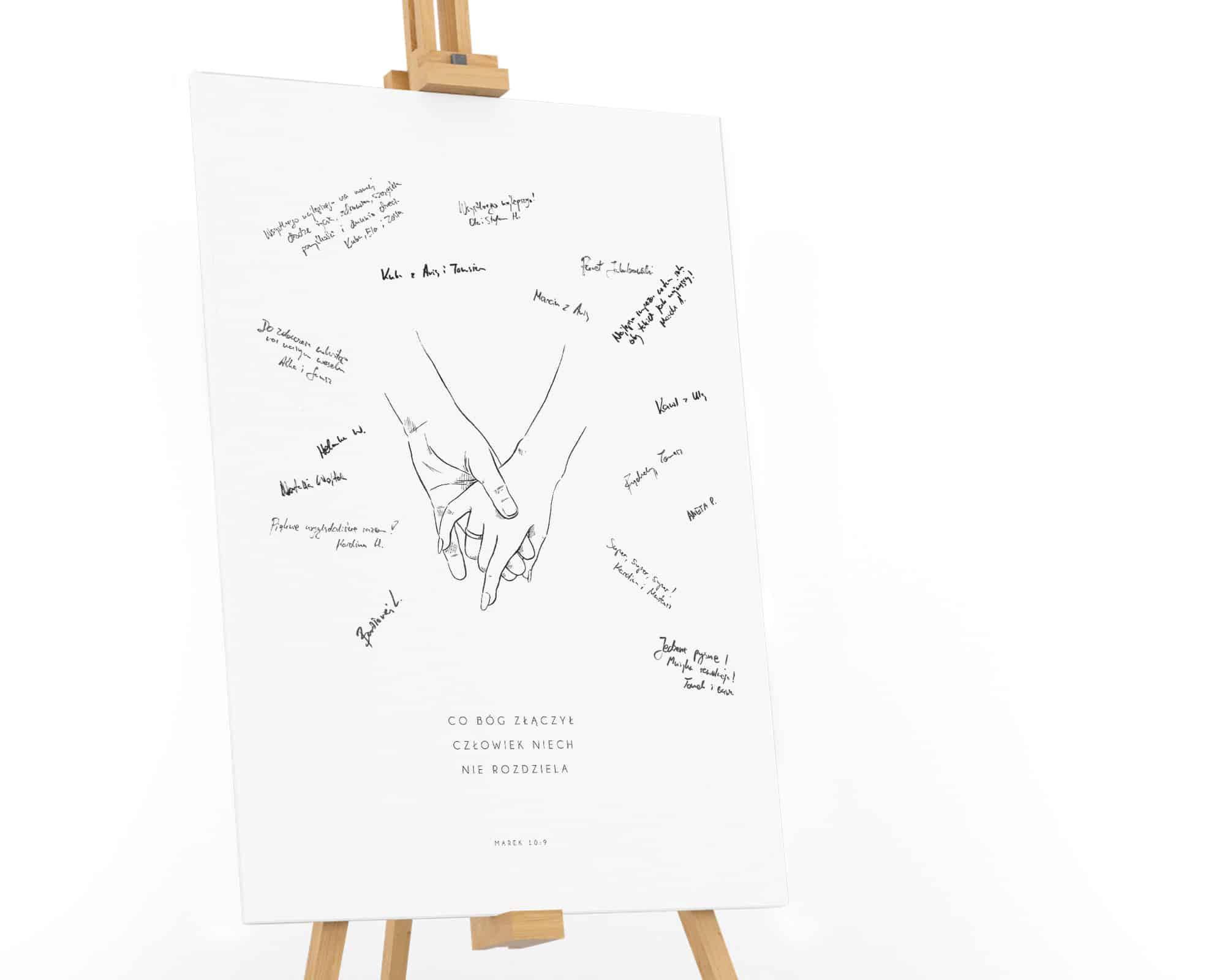 Księga gości do pozostawiania życzeń ze szkice dłoni Pary Młodej