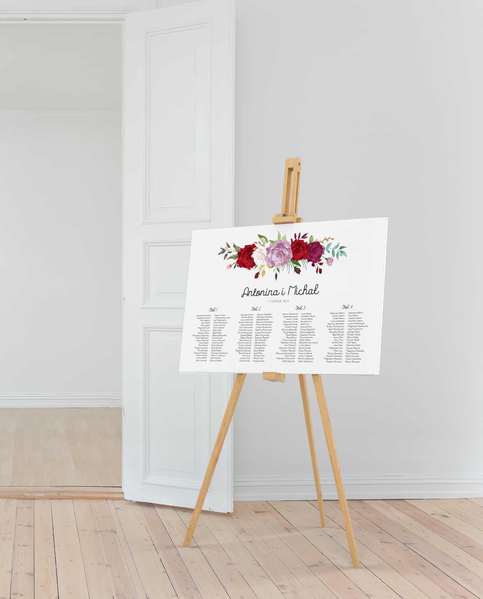 Piękny plan usadzenia gości w układzie poziomym na 4 stoły z kwiatami róż