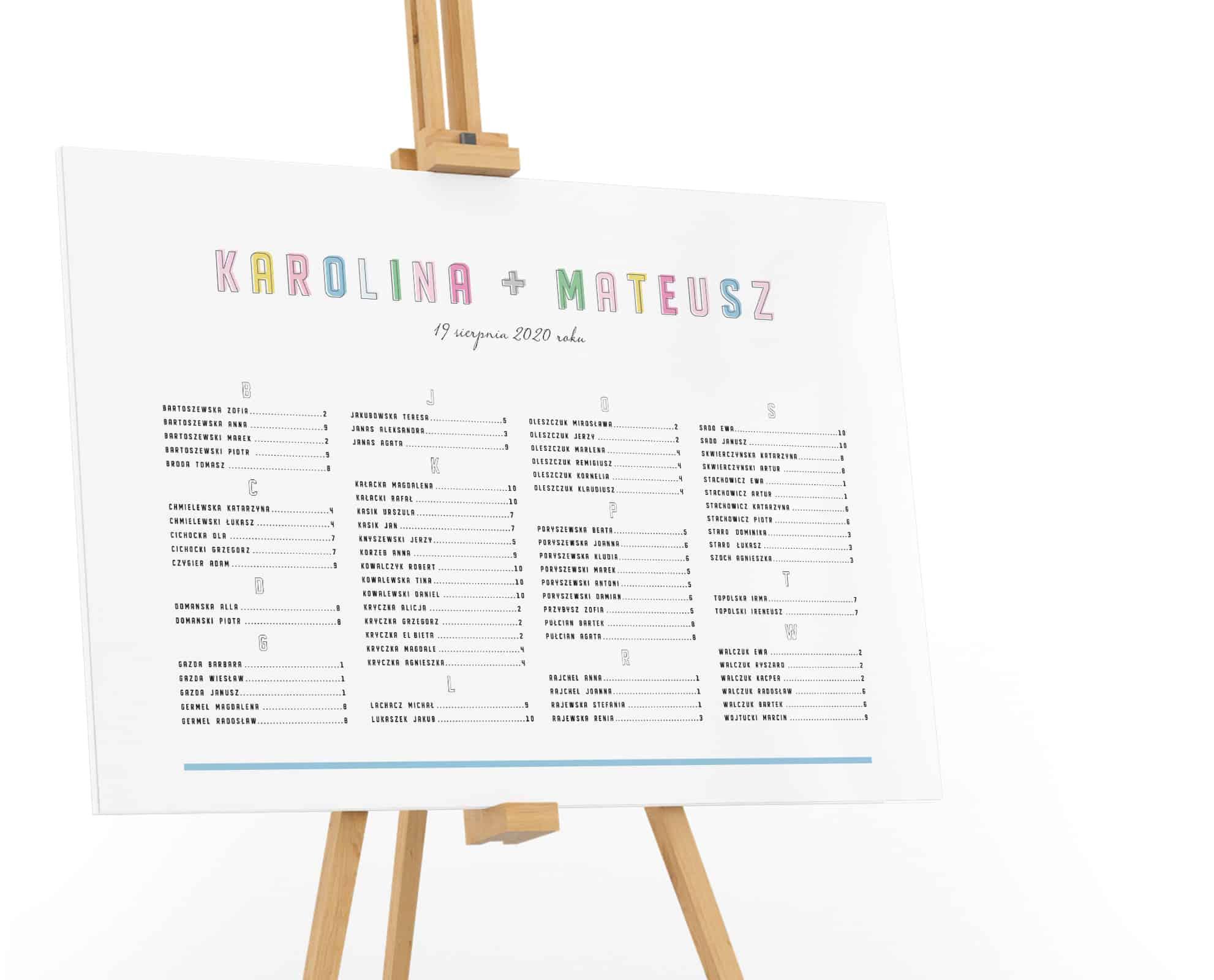 Prosty plan stołów alfabetyczny układ, imiona z kolorowych liter