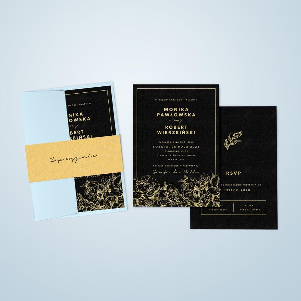 Czarno złote zaproszenia z błękitną kopertą i złotą opaską