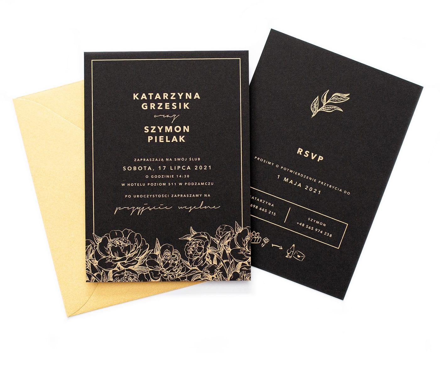 Czarne zaproszenia ślubne z piwoniami w złotym kolorze Peonies