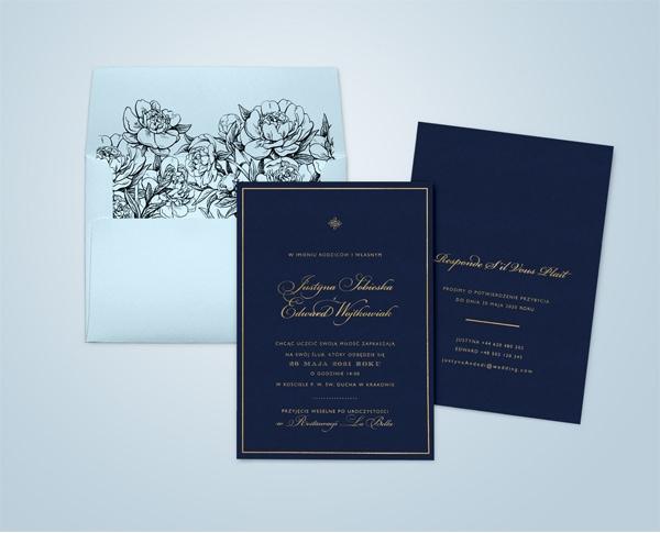 Granatowo złote zaproszenia ślubne glamour