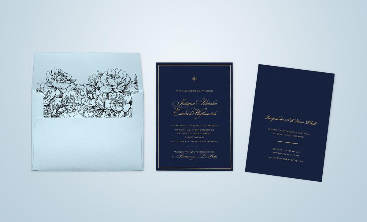 Szykowne granatowo złote zaproszenia z błękitną kopertą Glamour