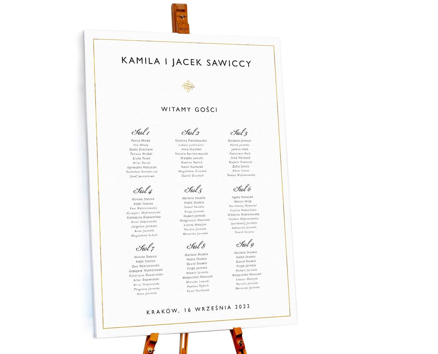Klasyczny prosty plan stołów weselnych z ramkąw złotym kolorze
