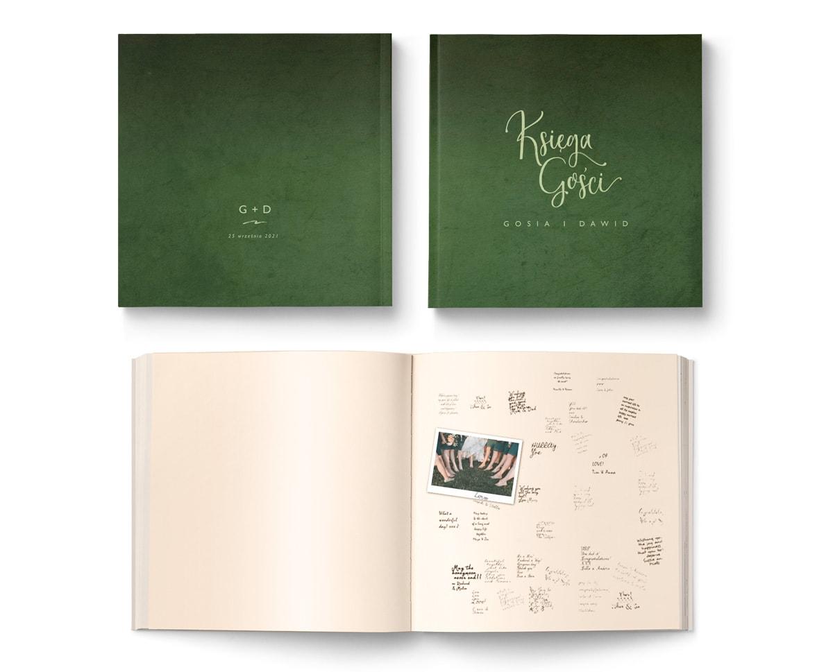 Księga do wpisów życzen z zieloną okładką