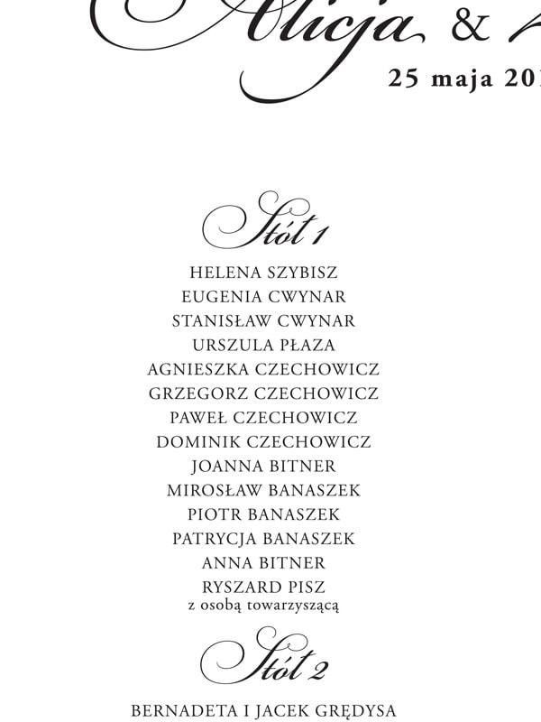 Lista gości do planu stołów