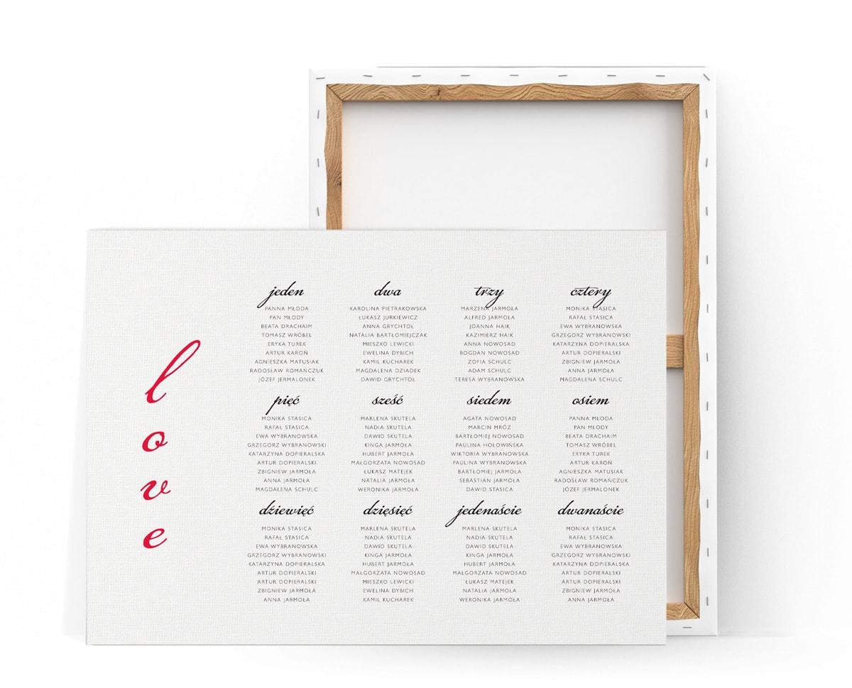 Minimalistyczny plan stołów z czerwonym napisem love