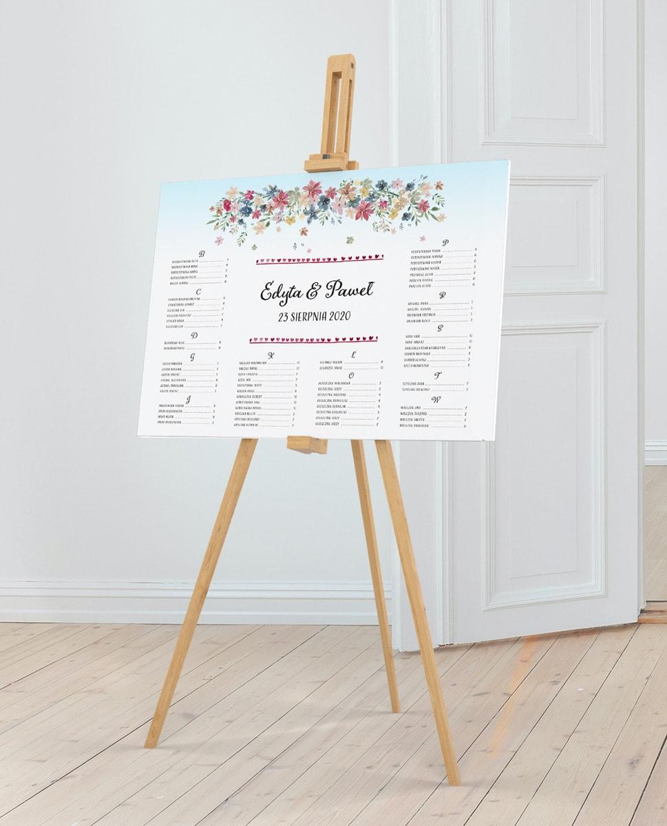 Plan stołów w klimacie rustykalnym z alfabetycznym usadzeniem gości
