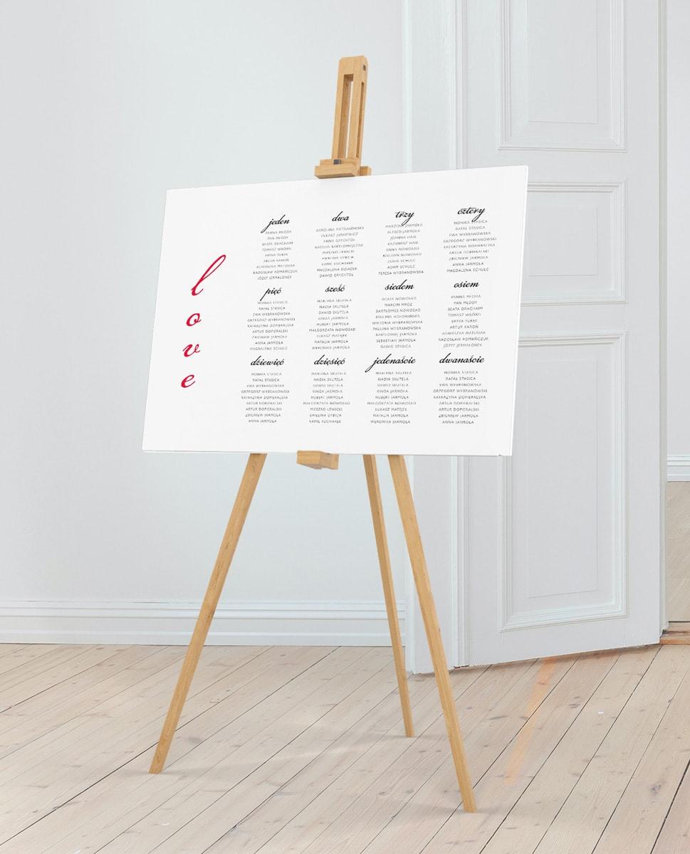 Nowoczesny plan stołów w romantycznym stylu love